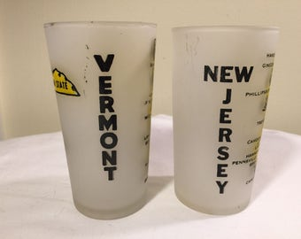 Vintage state frosted glasses - choice of 2 states - New Jersey - vermont - Frosted State Glasses - drinking glasses - retro barware