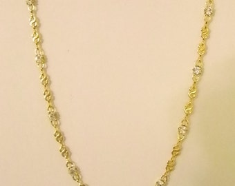 Lovely Gold Tone S Chain Link with Clear Crystals Necklace
