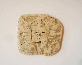 Sun ceramic wall hanging Sun drawing wall hanging Ceramic wall art Clay art Ceramic tile Rock drawing  Anthropomorphic image of  sun