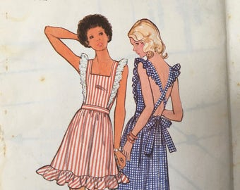 Butterick 3143 Junior Petite Pinafore Sundress Sewing Pattern Size 11 Bust 34 Vintage 1970s  Pinafore style sundress in mini or maxi