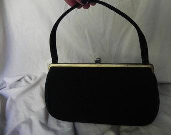 1950's or 1960's Mad Men Black Faux Suede Handbag Purse by Block