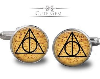 SUPER SALE - Deathly Hallows ( Harry Potter ) - Silver Glass Cufflinks