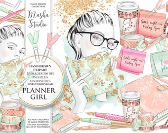 "Planner clipart: ""PLANNER GIRL CLIPART"" with planner book clipart, planner supplies, planning girl clipart, 25 images, 300 dpi. png files"