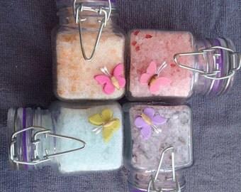 Bath Salts spa gift set, chocolate orange bath salts, lavender bath salts, baby powder bath salts, Chanel bath salts, Christmas gift set
