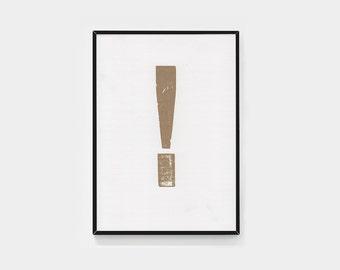 Framed gold exclamation mark (letterpress print)