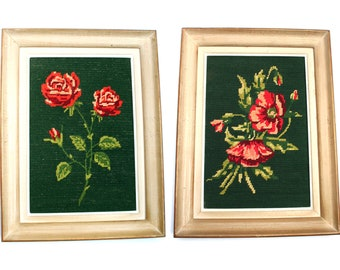 Two 1960s wall hanging French framed tapestries, Pair of frames, Floral pattern canvas