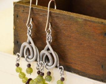 Chandelier earrings, green garnet, Ethnic massive Boho style, Coiling stainless steel handmade earrings, Mother's day gift, birthday gift