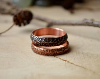 Rustic Engagement ring for him, Boho Style, Copper men ring, Hand Hammered, Dainty Rings, textured ornament, Girls thin ring