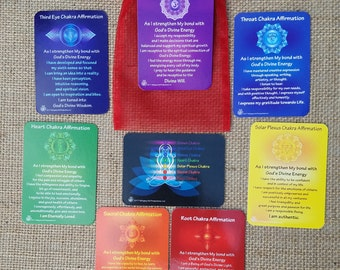 7 Chakra Affirmation Cards with Daily Mantra on the back + Physical and Emotional Map