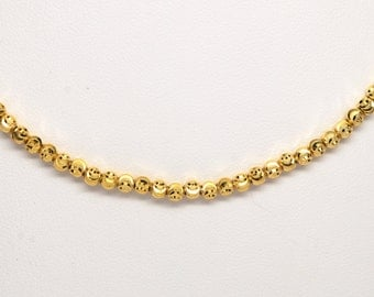 """Officina Bernardi Sterling Silver 18k Overlay 16 - 18"""" Faceted Beaded Moon Chain"""