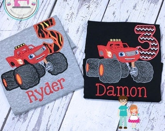 Blaze Monster Machine Birtday Shirt, Personalized Blaze Monster Machines, Boys Appliqued Shirt, Boys Birthday Shirt, Boys Blaze Shirt