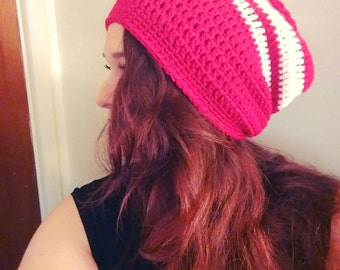 Crochet Striped Slouchy Beanie - Red, White