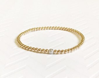 Tiny beads bracelet with white gold bead/ gold beaded bracelet / petite gold bracelet / dainty bracelet