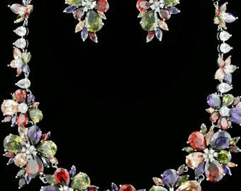 New Elegant Multi Color Crystal  Floral  Necklace Set