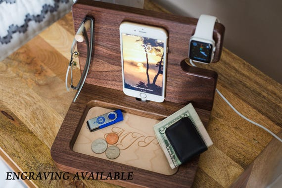 Anniversary Gift for boyfriend, Personalized Mens Gift, Gift For Dad, Fathers Day Gift, Mens Gift, Mens Valet, Gifts for Him, Iphone dock
