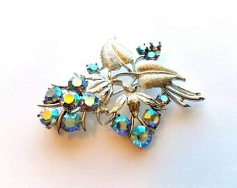 Vintage Coro Silver Flower Bunch with AB Blue Crystal Rhinestones Pin, Brooch