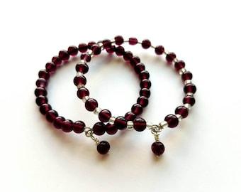 Set of 2 Purple Amethyst Glass Beads Memory Wire Bracelet