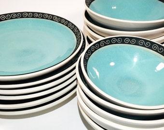 Dinnerware Set (3 pieces), Tableware, Porcelain, Matte Black, Blue, White