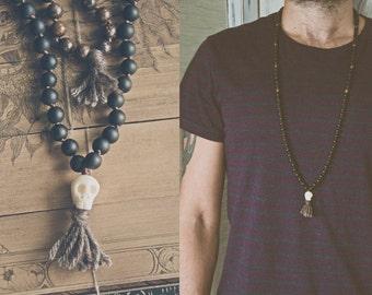 BLACK KALI MALA long necklace with a carved bone Skull // Yak Wool tassels / lava beads // hindu mala 108 bead mala / Yoga Necklace