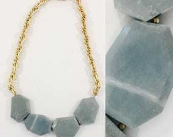 Natural Stone Bib Necklace