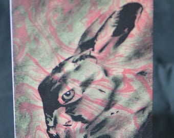 Hare Greetings Card - Nature, Natural World, Marbled, Collage, PopArt, Art Cards rabbit pink birthday pagan moon goddess