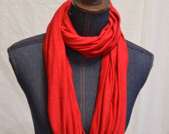 Red Jersey knit Infinity scarf