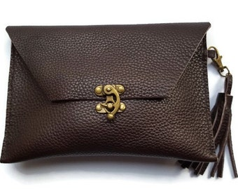 Leather clutch bag - mahogany brown