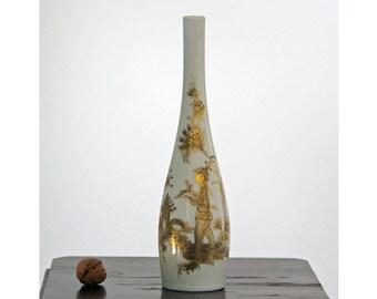 Bjorn Wiinblad, Rosenthal Studio Line, Germany. Tall Gold-Painted Vase. Mid century