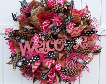 Pink Welcome Wreath, Burlap Welcome Wreath, Pink Deco Mesh Wreath, Deco Mesh Welcome Wreath, Mother's Day Wreath, Hot Pink Wreath