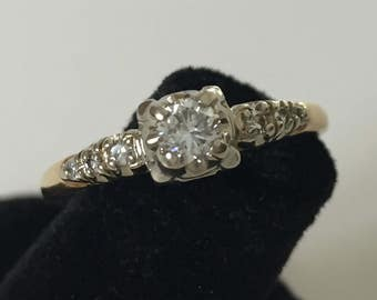 Vintage 14 k gold diamond engagement ring
