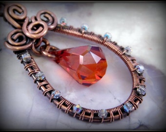 Swarovski Crystal Pendant, Copper Wire Wrapped Pendant, Red Magma Crystal Necklace, Unique Jewelry, Gift For Her, Copper Jewelry