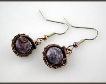Red Lightening Agate Earrings, Copper Wire Wrapped Earrings, Semi-precious Stone Earrings, Antiqued Copper Earrings, Wire Wrap Jewelry