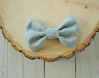 Grey Linen Bow Tie- Bow Tie for Baby, Toddler, Child