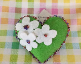Hand- crafted felt heart brooch. One of a kind. Duplicates not made.
