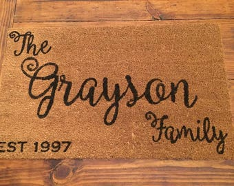 Custom Doormat, Wedding gift,  Last name Doormat, House warming gift, personalized home