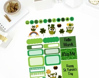 St. Patrick's Day Sampler Stickers! Perfect for your Erin Condren Life Planner, calendar, Paper Plum, Filofax!