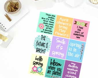 Spring Quotes Stickers! Perfect for your Erin Condren Life Planner, calendar, Paper Plum, Filofax!