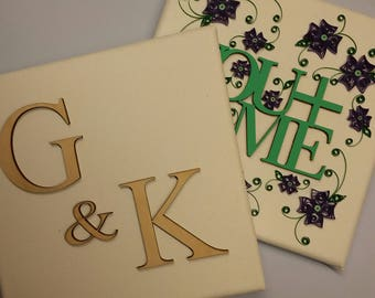 """Couples Initials on canvas (6""""x 6"""") with custom paper quilled embellishments - made to order"""