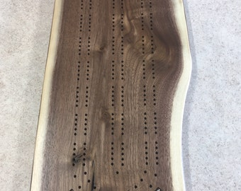 Two Player Walnut Live Edge Cribbage Board