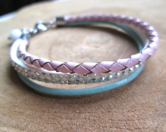 Mint White Leather Bracelet pink stainless steel mix