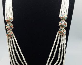 Pearl and Navratan Stones Necklace Set w/ Choker, Earrings & Tikka