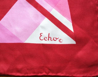 Vintage Echo Scarf Silk Red Pink White Geometric Rolled Hems