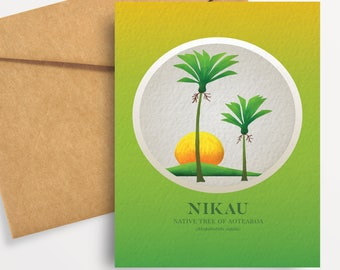 Nikau illustration in gouache. A6 greeting card with envelope – Native Trees of Aotearoa series.