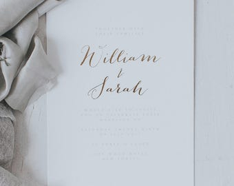 Printed Elegant and Romantic Gold Embossed Wedding Invitations with Envelopes. Luxury Gold Foil Wedding Invitation.