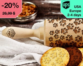 Paws - laser engraved rolling pin, embossing rolling pin
