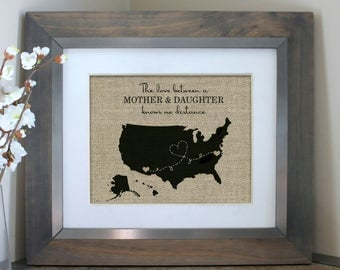 Mother Daughter Gift | Personalized Long Distance Love Gift Idea | Mothers Day Map | Mothers Day Gift for Mom | Gifts for Mom From Daughter