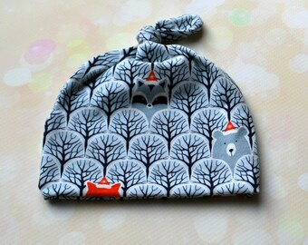 Newborn Baby Infant Knot Hat in Grey Woodland Trees with Optional Adjustable Brim up to Six Months