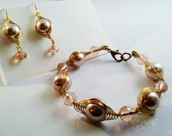 Pearl Bracelette and earrings