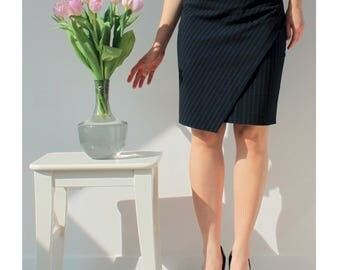 Pencil skirt with asymmetrical front panel PDF download sewing pattern PIN'N'SPIN