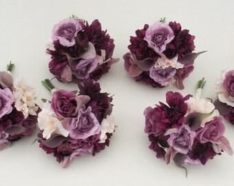 Wedding Flowers Bridesmaids Bouquets Marsala Purple Plum Eggplant Lapis